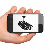 Security concept: Cctv Camera on smartphone