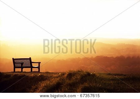 Bench And Sundown. poster