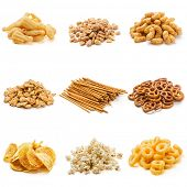 picture of irresistible  - Snack collection isolated on white background - JPG