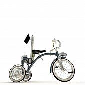 foto of tricycle  - illustration of a blue tricycle isolated on white background - JPG