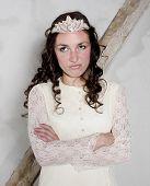 stock photo of cinderella  - brunette woman dressed as cinderella looking upset  - JPG