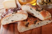 pic of antipasto  - Italian focaccia bread with olives - JPG