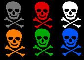 image of skull crossbones  - Set of colored skull and crossbones symbol wish shadow on black background - JPG