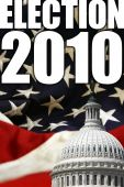 picture of midterm  - Election design for upcoming 2010 elections in the United States with flag and Capitol dome in background - JPG