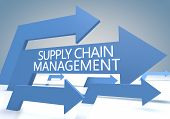 image of supply chain  - Supply Chain Management 3d render concept with blue arrows on a bluegrey background - JPG