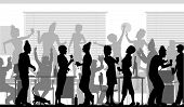 image of office party  - Editable vector silhouettes of business people at an office party with all elements as separate objects - JPG
