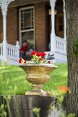 picture of nebraska  - Red geraniums in an old stone pot sitting in front of a peaceful Nebraska home - JPG