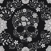 pic of skull  - vector seamless background with skulls and flowers - JPG