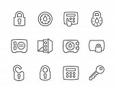 Постер, плакат: Outline Keys and Locks Icons