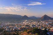foto of saraswati  - Aerial view of Pushkar city Rajasthan India - JPG