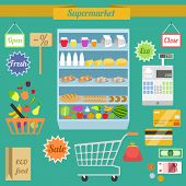 stock photo of grocery cart  - Supermarket flat elements with shelf shopping cart money purse vector illustration - JPG