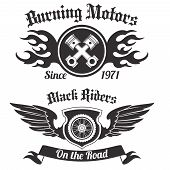 stock photo of chopper  - Motorcycle grunge black riders burning motors labels set isolated vector illustration - JPG