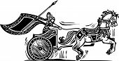 stock photo of chariot  - Woodcut style image of a Norse viking Valkyrie riding a chariot - JPG