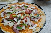 picture of doma  - Home made pizza with pork tomato salami and soda - JPG