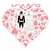 pic of wedding feast  - Composition in the shape of heart with bow on top - JPG