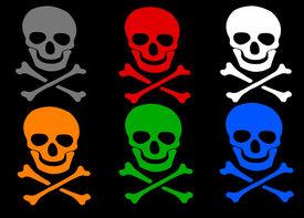 picture of skull crossbones  - Set of colored skull and crossbones symbol wish shadow on black background - JPG