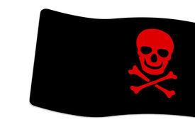 stock photo of skull crossbones flag  - Pirate Black Flag with red Skull and Crossbones sign on white background - JPG