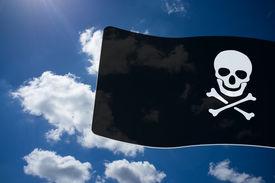 image of skull crossbones flag  - Pirate Black Flag with white Skull and Crossbones sign on blue sky background - JPG