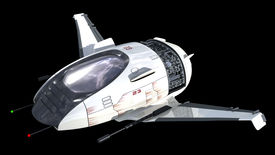 stock photo of battleship  - Drone design of alien spacecraft for science fiction backgrounds - JPG
