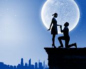 picture of moon silhouette  - Silhouettes of romantic couple under the moon light - JPG