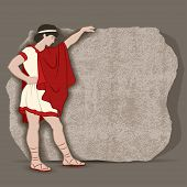picture of significant  - Young Greek standing at a piece of stone block going to carve something significant vector illustration - JPG