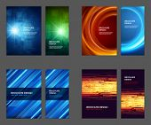 image of brochure design  - Set of Brochure Flyer design vector template Geometric Lines and Lights abstract backgrounds  - JPG