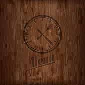 stock photo of wood design  - restaurant menu design with lunch time icon on wood background - JPG