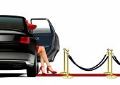 image of carpet  - Limo Arrival on Red Carpet with Sexy Leg - JPG