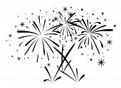 image of firework display  - vector abstract black and white anniversary bursting fireworks with stars and sparks - JPG