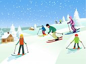 stock photo of winter-sports  - Winter family recreation time  - JPG