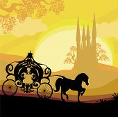 pic of carriage horse  - Silhouette of a horse carriage and a medieval castle  - JPG