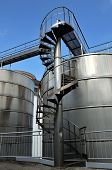 foto of silos  - Silos and steel machinery for the processing of the grapes - JPG