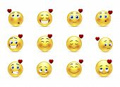 foto of emoticon  - Set of 12 beauty valentine emoticons in love - JPG