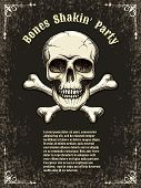 stock photo of skull crossbones  - Template posters for the party - JPG