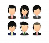 stock photo of faceless  - Illustration of an isolated set of asian male faceless avatars with various hair styles wearing headset - JPG