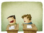 image of exams  - funny illustration of student trying to cheat at exam - JPG