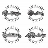 image of muscle-car  - retro muscle car vector graphic art illustration - JPG