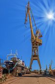 picture of shipbuilding  - Ship is being renovated in shipyard Gdansk Poland - JPG