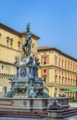 picture of piazza  - The Fountain of Neptune is a monumental fountain located in the eponymous square Piazza del Nettuno next to Piazza Maggiore in Bologna Italy - JPG