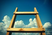 picture of stairway  - Vignetting Photo of Wooden Stairway on the Sky Background - JPG