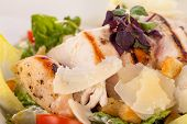 image of caesar salad  - tasty fresh caesar salad with grilled chicken parmesan and croutons - JPG