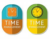 stock photo of elliptical  - time management with clock signs two elliptic flat design labels with icons business organizing concept symbols - JPG