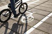 stock photo of path  - Cyclist on bike path - JPG