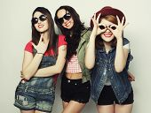 picture of three sisters  - Three stylish sexy hipster girls best friends - JPG