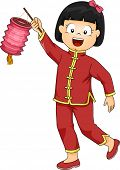 picture of national costume  - Illustration of a Little Girl Dressed in a Chinese Costume Carrying a Paper Lantern - JPG