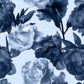 stock photo of garden-art  - art vintage monochrome watercolor floral seamless pattern with dark grey blue peonies and white roses isolated on white background - JPG