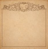 stock photo of claddagh  - Vintage old paper texture with vector vignette with Medieval ornament hand drawn floral decorative frame with heart and crown holded by hands copy space emblem - JPG