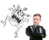 stock photo of ugly  - Pissed child faces an ugly monstrous virus - JPG