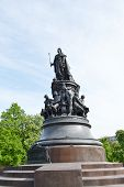 foto of courtier  - Monument to Catherine the Great on Ostrovsky Square in St Petersburg Russia - JPG
