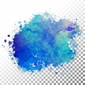 image of paint spray  - Vector watercolor painted blue blot - JPG